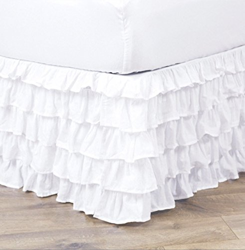 Empire Home Pleated Ruffled Bed Skirt Solid Dust Ruffle All Sizes 9 Colors (Full Size, White) (Pink Full Ruffle Dust)
