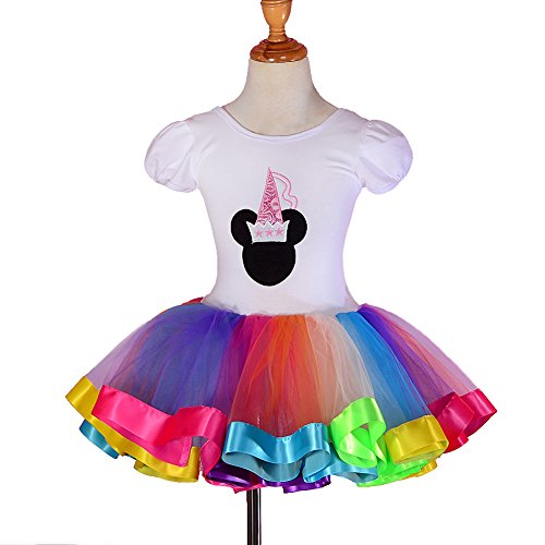 Dressy Daisy Girls' Colorful Ribbon Trim Ballet Tutu Dancewear Fairy Dress Costume Size - Girl Fancy Ribbon