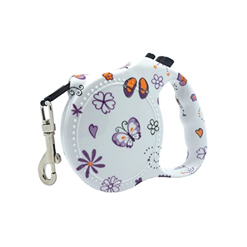 Purple Butterfly Print Retractable Dog Leash Easy Control Up to 66 lbs Dog Exercise & Training Rope Best for Small and Medium Size Dog