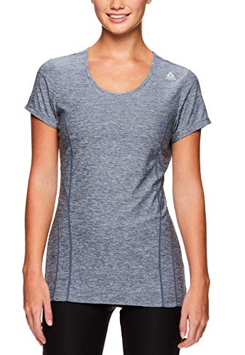 Reebok Women's Dynamic Fitted Performance Short Sleeve T-Shirt - Bering Sea Heather, Extra Large ()