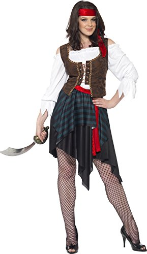 Smiffy's Pirate Lady Costume, Brown/Black/Red/White, Small