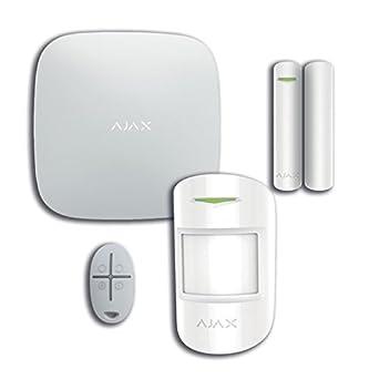 AJAX Kit de alarma AJHUBK - Kit antirrobo inalámbrico (GSM + Ethernet) hasta 100 dispositivos, compuesto de centralita, detector PIR, contacto ...