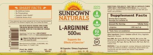 Sundown Naturals L Arginine 500 mg, 90 Capsules