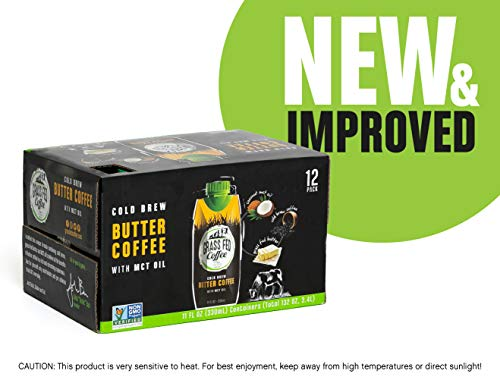 Grass Fed Coffee   Cold brew butter coffee with MCT Oil, Works with Ketogenic Diet - 12 Pack (Best Thing To Have For Breakfast To Lose Weight)