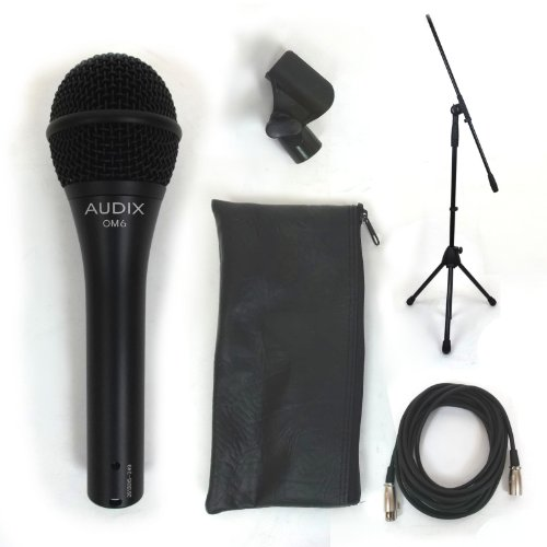 Audix OM6 Dynamic Vocal Mic w/Clip Pouch, 20' XLR Cable, and Boom Mic Stand (Vocal Om6 Microphone Audix Dynamic)