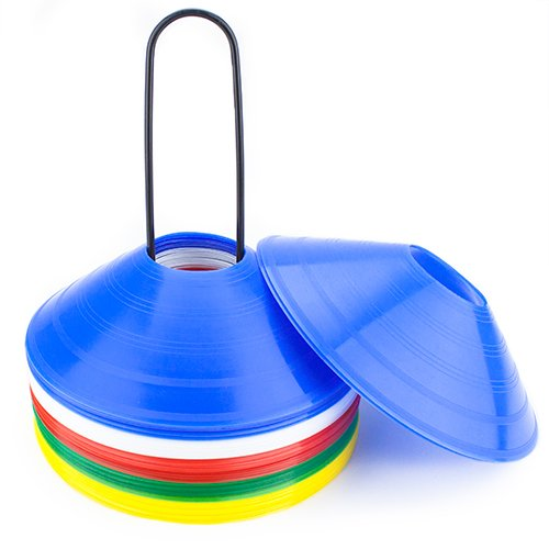 Crown Sporting Goods Multi Colored Disc Cones with Metal Transportation Caddy (Pack of 50)