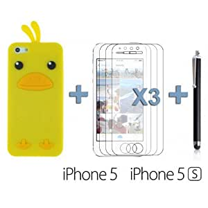 Chick Style Soft Silicone For SamSung Galaxy S5 Case Cover - Yellow with 3 Screen Protectors and Stylus