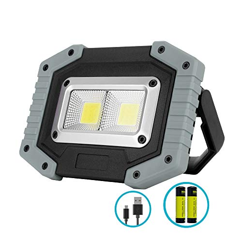Portable LED Work Light, XQOOL 2X COB 30W Rechargeable 1500LM LED Flood Lights Waterproof Work Lamp with Stand Built-in Power Bank Job Light for Indoor Outdoor Lighting (Grey, 1 Pack) ()