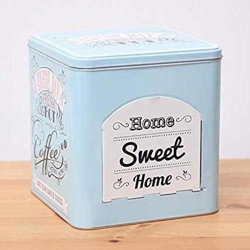 Yujiayi Caja de almacenamiento grande para café con bandeja de lata, para escritorio, para el hogar, oficina, cocina (casa dulce): Amazon.es: Hogar