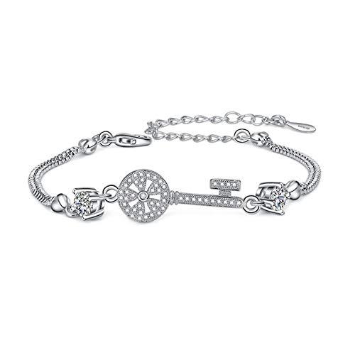 WIBERN Fashion Popular Personality Small Key Windmill Shape Plated Zircon Bracelet (White) (Livestrong Key)