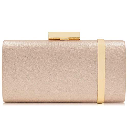 (Yekajlin Clutch Purse for Women Bridal Party Evening Bags Formal Clutches, Rose Gold, Small )
