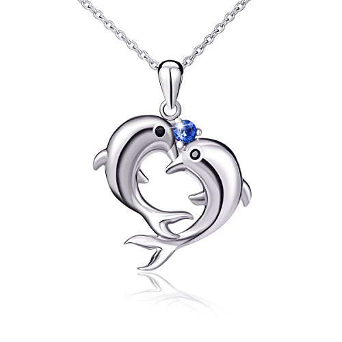 Dolphin Heart (925 Sterling Silver Double Dolphin Heart Blue CZ Heart Shape Pendant Necklace 18