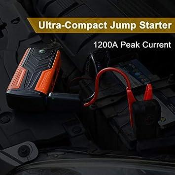 Avviamento di Auto Caricabatteria Portatile,Doppie Porte USB e Torcia LED SOS AWANFI Avviatore Jump Starter Booster Batteria Auto 1200A 12V 18000mAh Multifunzione,Motore a Benzina 6.5L e Diesel 5.0L