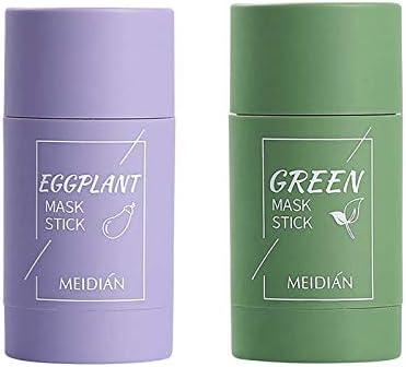 Mascarilla de arcilla purificadora de té verde control de aceite berenjena antiacné,sólido fino aclarador de acné,removedor de espinillas,hidrata y controla aceite,mejora la textura de piel 2 piezas