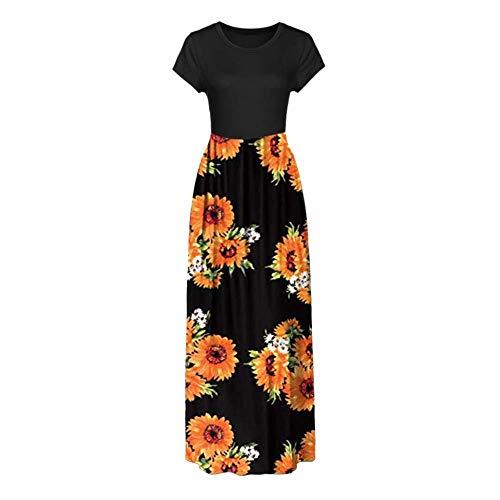 2aa279bf2453 GSKJ Toamen Casual Dress Sale Women Short Sleeve Floral Print Patchwork  Loose Plain Casual Long Maxi