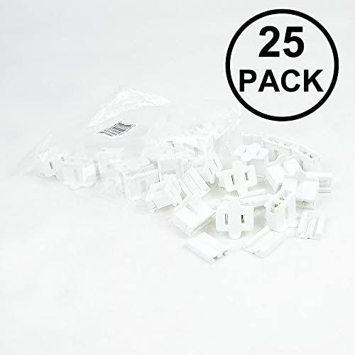 Novelty Lights SPT-1 Female Plug, Snap On Vampire Plugs, White, Polarized, 8 AMP, 25 Pack