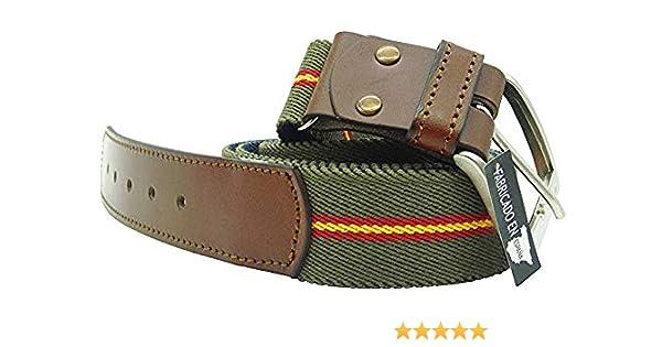 LGP – Cinturón Bandera de España de Lona elástica color Verde y Piel de Vacuno, extensible, válido para cualquier Talla: Amazon.es: Ropa y accesorios