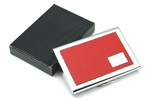 honb Slim Kreditkarte Fall mit RFID-Block Technologie–Visitenkartenhalter für Männer & Frauen–und Kreditkarte Displayschutzfolie gegen Finanzielle Betrug und Identitätsdiebstahl Red Leather