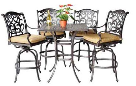 Tourville Outdoor Living Mandalay 5 piece Bar Set (4 bar chairs and 36
