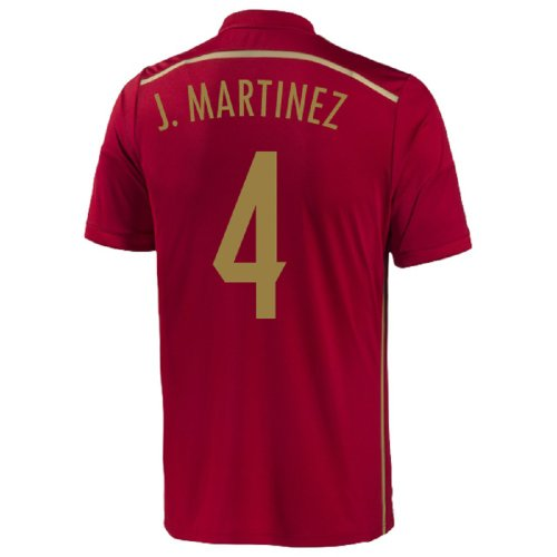 Adidas J. Martinez #4 Spain Home Jersey World Cup 2014 (Youth) (YS)
