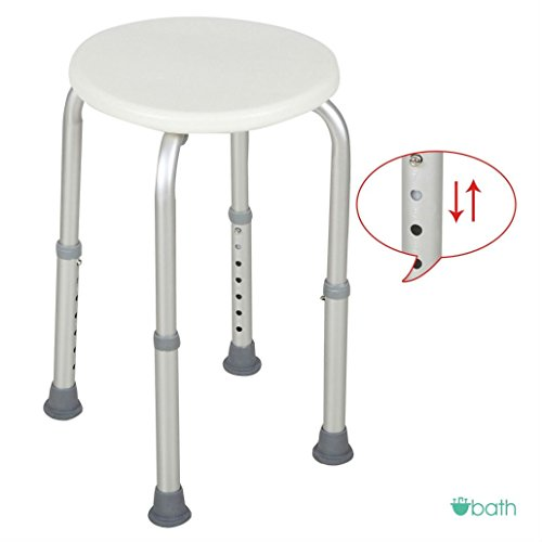 7 Adjustable Heights Medical Bath Shower Chair Bath Stool Tub Seat in White by Unknown