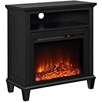 Altra Furniture Ellington TV Stand with Fireplace for TVs up to 32, Black