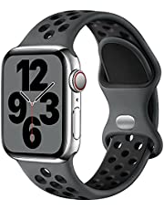 Upeak Sport Bandje Compatibel met Apple Watch Bandje 44mm 42mm 40mm 38mm, Ademend Dubbel Gat Gesp Horlogebandjes Siliconen, voor iWatch Band Series 6 5 4 3 2 1 SE, 42mm/44mm-S/M, Houtskool/Zwart