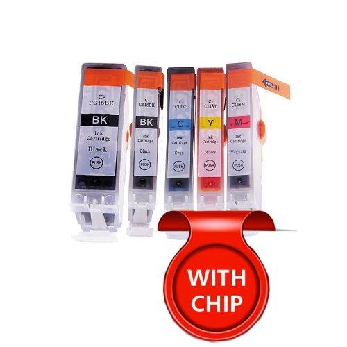 5 Pack - Toners & More ® Compatible Inkjet Cartridge Set for Canon PGI-5 & CLI-8 PGI5 CLI8, PGI-5BK Large Black, CLI-8BK Small Black, CLI-8C Cyan, CLI-8M Magenta, CLI-8Y Yellow, Compatible with Canon PIXMA IP5200R, IP3300, IP3500, IP4200, IP4300, IP4500,