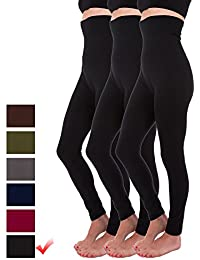 a17336c7e9 3 Pack High Waist Fleece Lined Thick Tummy-Compression Brushed Leggings