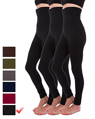 - Homma 3-Pack High Waist Compression Fleece Lined Thick Brushed Leggings Thights (S/M/L, Black x3)