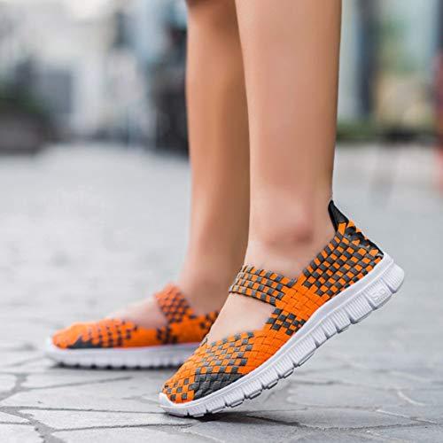 elásticos a planos Naranja las de a Delicacydex Zapatos transpirables mano mano ligeros hechos deportivos ocasionales tejidos Zapatos mujeres Zapatos 40 cómodos YPwHqTz