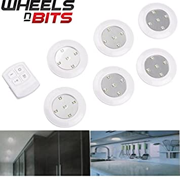 6pc 10cm Wireless Remote Control Led Light Spotlight Battery