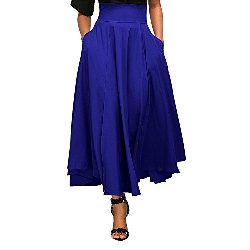 Ceinture pliss Bleu Jupon Longue Jupes Cheville Taille Poches Vintage Haute Latrales avec Vestmon Femmes L Wz6OaF