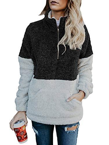 - TEMOFON Women's Long Sleeve Zipper Fleece Jacket Sherpa Pullover Winter Outwear Sweatshirt Coatwith Pockets Black S