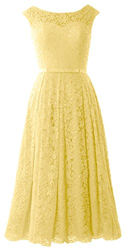 MACloth Caps Sleeve Lace Cocktail Dress Tea Length Wedding Party Formal Gown Canary