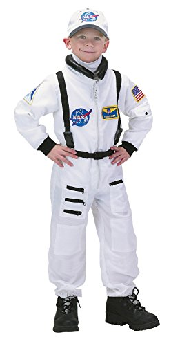 Aeromax Jr. Astronaut Suit with Embroidered Cap and NASA patches, WHITE, Size 8/10 -