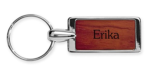 Dimension 9 Personalized Rosewood Key Ring with Chrome-Plated Trim - Erika - Wood Erika