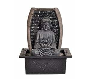 Dehner 4022646Habitaciones Brunnen Zen de Buda con Iluminación LED, polirresina, Gris, 28x 18x 21cm
