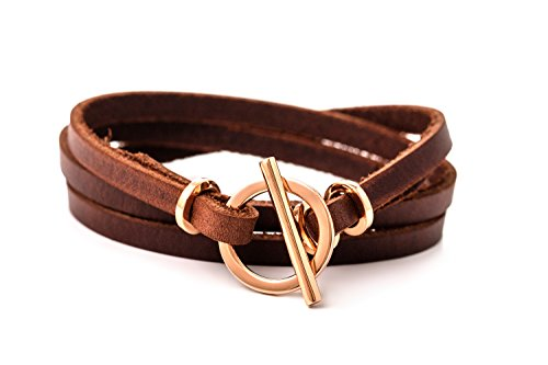 Rose gold Leather Bracelet for woman Leather Wrap Bracelet with Toggle Clasp and genuine leather handmade bracelet