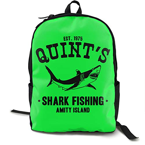 Quint's Shark Fishing Adult Mens & Womens Unisex School Funny Style Backpack -