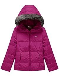 Wantdo Girl's Hooded Down Jacket Lightweight Fur Winter Coat