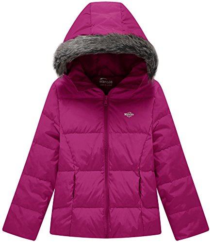 Wantdo Girl's Ultra Light Down Jacket Windproof Hoodies Outwear Short Parka for Camping(Rose Red, 4/5) by Wantdo (Image #1)