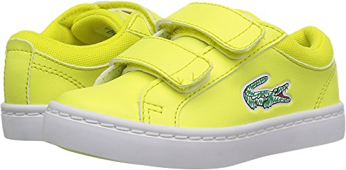 Lacoste Sneakers Lace (Lacoste Kids' Straightset Lace Sneakers,Fluro YLW/White Synthetic,5. M US Toddler)