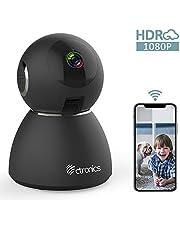Ctronics Caméra de Surveillance 1080P Caméra WiFi sans Fil 25fps Caméra IP Dome Intérieur Vision Nocturne Détection de Mouvement, Audio Bidirectionnel Pan 355°Tilt pour Bébé Animal