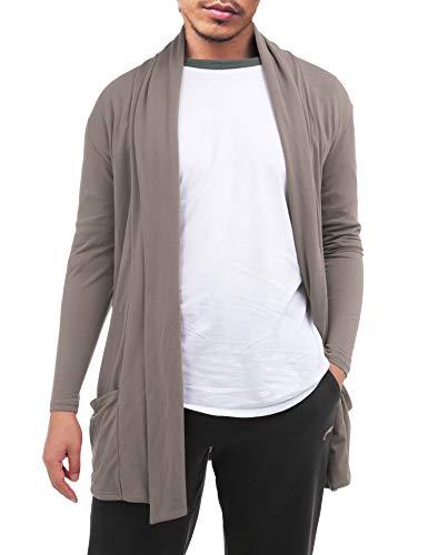 FISOUL Men's Cardigan Ruffle Shawl Collar Cardigan Open Front Blend Long Length Drape Cape Overcoat