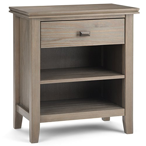 Distressed Wood Tables - Simpli Home 3AXCART-02GR Artisan Solid Wood Bedside Table, Distressed Grey