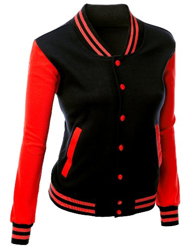 Stylish Color Contrast Long Sleeves Varsity Jacket Black Red