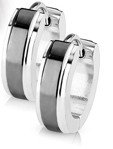 14MM Hoop Earrings Surgical Stainless Steel Hinged Hoop Earring with Plate Center Layer Rhodium Plated Earrings For Men Women Huggie Hypoallergenic Hoop Earrings