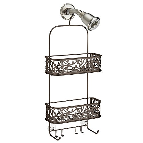 InterDesign Vine Hanging Shower Caddy – Bathroom Storage Shelves for Shampoo, Conditioner and Soap, Bronze