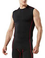 TSLA Men's (Pack of 1, 3) Sleeveless Muscle Tank Dry Compression Baselayer, 4-Season Multi Sportswear Ruuning T-Shirts for Men